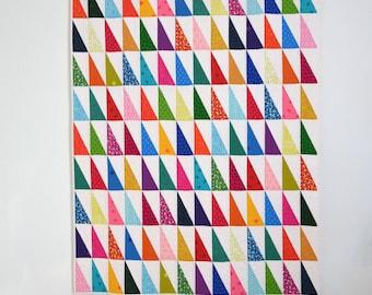 Modern Geometric Quilt, Graphic Rainbow Quilt, Modern Lap Quilt, Rainbow Quilt, Graphic Lap Quilt