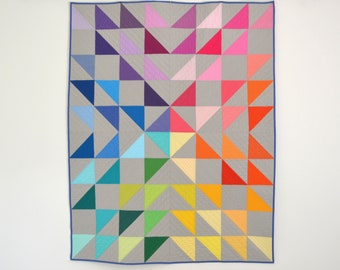 Rainbow Quilt, Modern Geometric Quilt, Modern Lap Quilt, Rainbow Throw Quilt