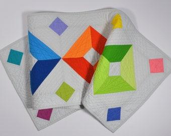 Geometric Table Runner, Rainbow Quilt, Modern Table Decor, Table Linens