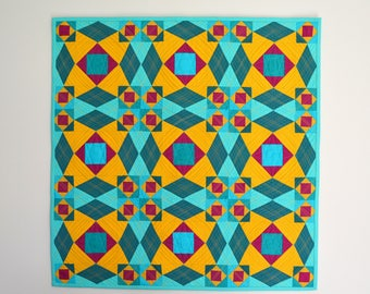 Modern Wall Hanging, Modern Wall Decor, Quilted Wall Hanging, Geometric Quilt, Art Quilt