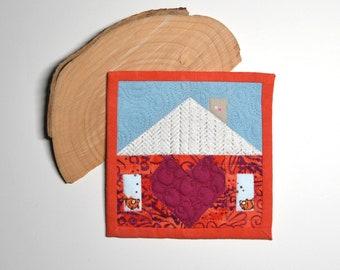 Tiny Home Quilt, Mini Mini Quilt, Heart Quilt, Fabric Coaster, Fiber Art