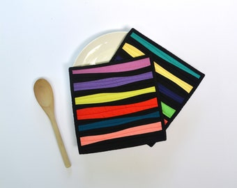 Quilted Pot Holders, Black Pot Holders, Rainbow Pot Holders, Modern Pot Holders