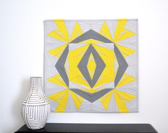 Graphic Wall Hanging, Modern Wall Hanging, Pantone COTY, Yellow and Gray Quilt, Quilted Wall Hanging