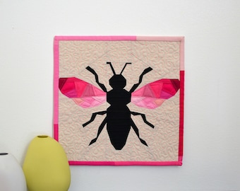 Geometric Bee Quilt, Pink Mini Quilt, Bee Wall Hanging, Mini Quilt, Pink Wall Hanging