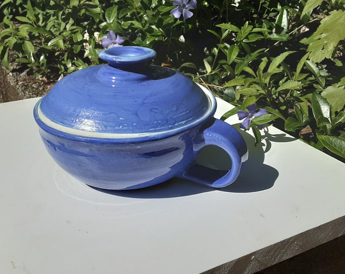 Blue Covered Soup Bowl or Little Cassarole