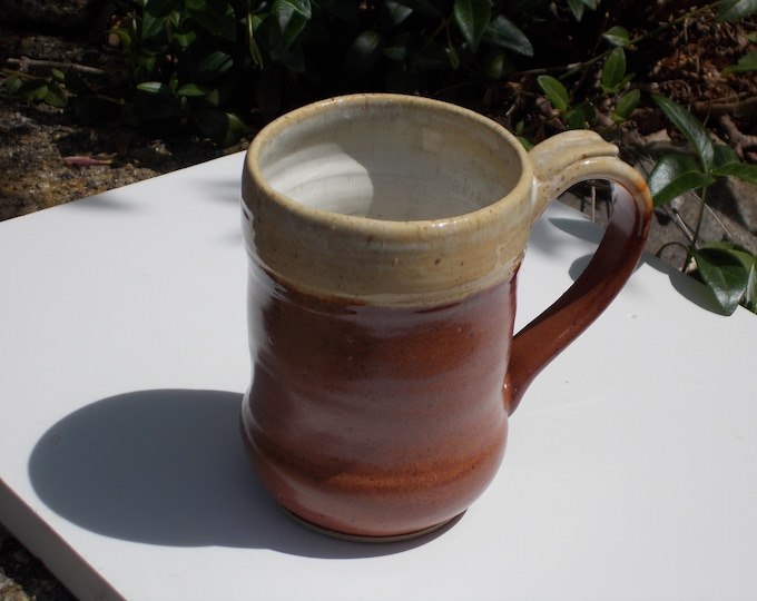 Tankard for Beer, coffee, soup, tea, ale 1 Pint,Brown and tan