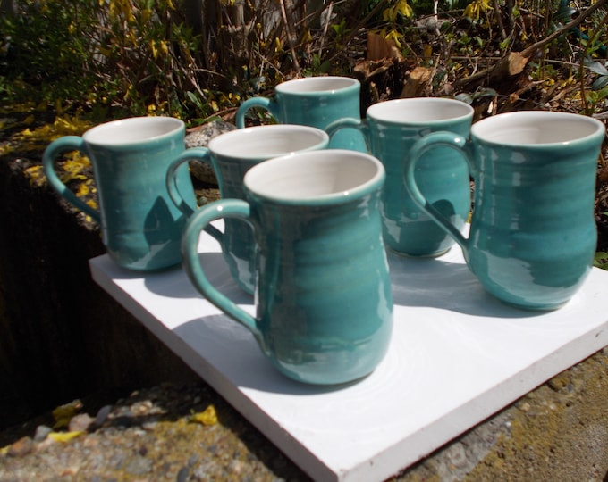 Turquoise Blue-Green set of 6 stoneware coffee tea or beer mugs or cups