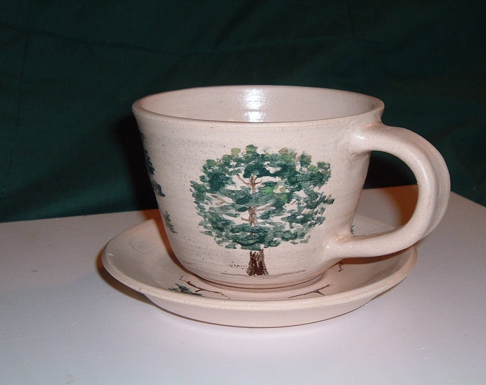 Cup and Saucer with Trees