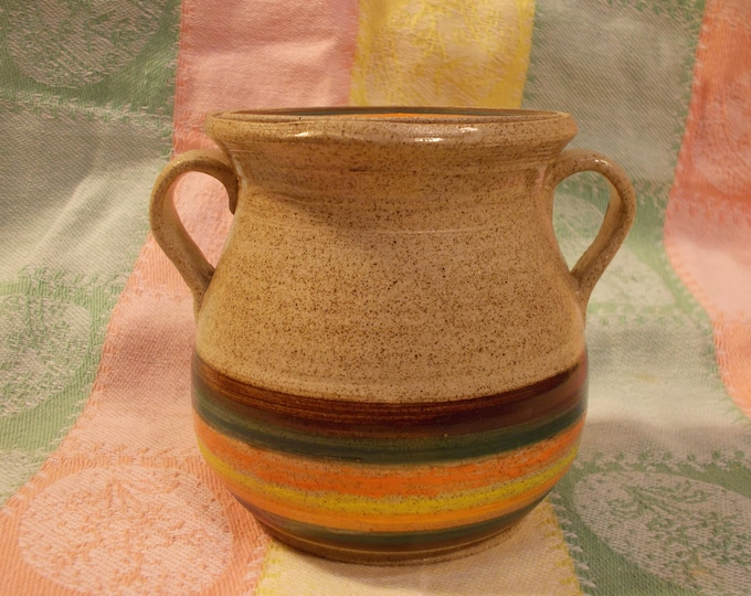 Handmade ceramic stoneware covered Crock cannister or Jar, with lid and handles One Pint