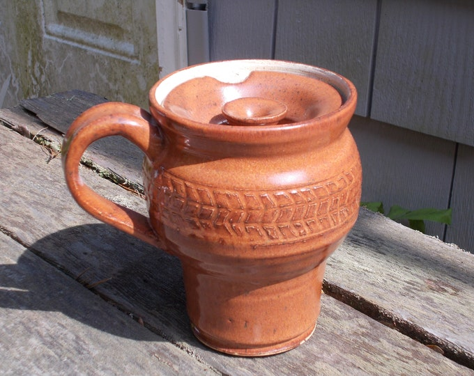 1 Pint Tan/Brown Stoneware Travel Mug for a Big Cuppa Coffee, Tea or ...