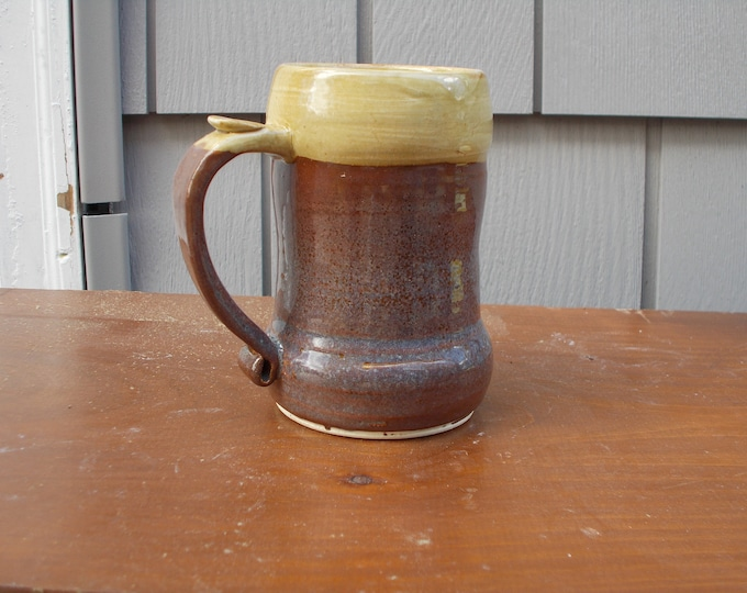 Tankard for Beer, coffee, soup, tea, ale 1-1/2 Cups,Brown and tan