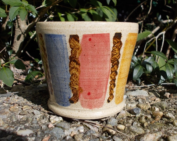 Tumbler, pot, juice, wine, rum and cubes, stoneware, multi-colored, handmade, pottery