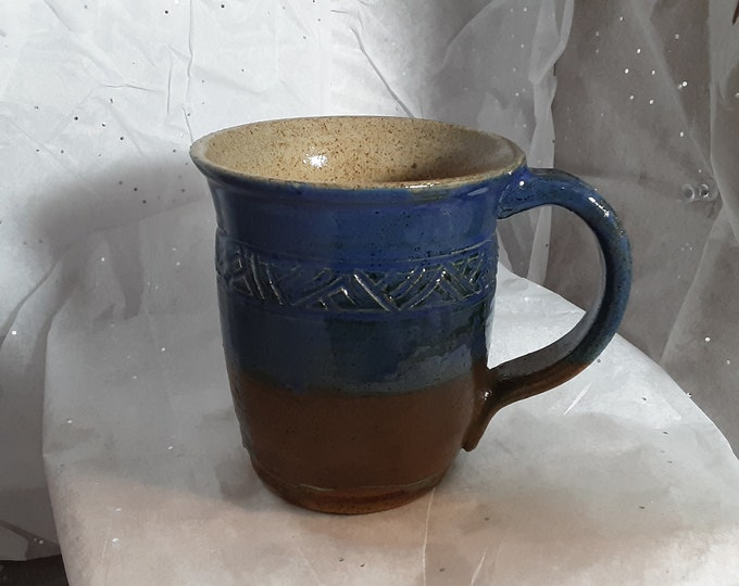 Blue & Brown Coffee Cup or Mug with Incised Decoration 13 oz
