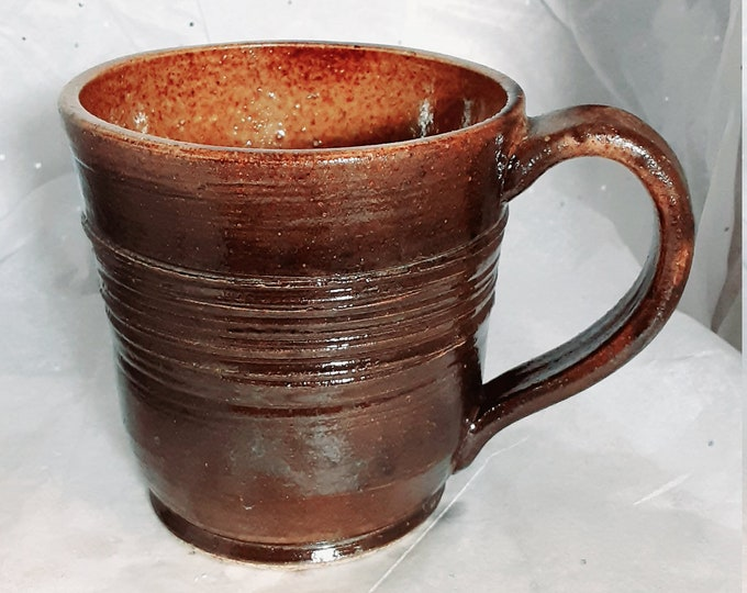Brown Coffee Cup or Mug with Incised Decoration 12 oz
