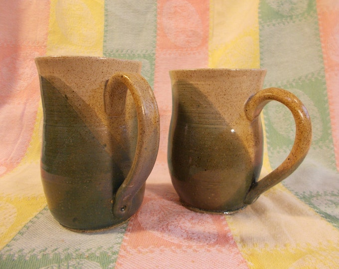 Teal Green speckled stoneware coffee tea or beer mugs or cups, full with 12oz.