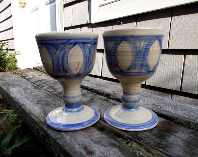 Pair of Color Painted Stoneware Goblets or Chalices 15oz