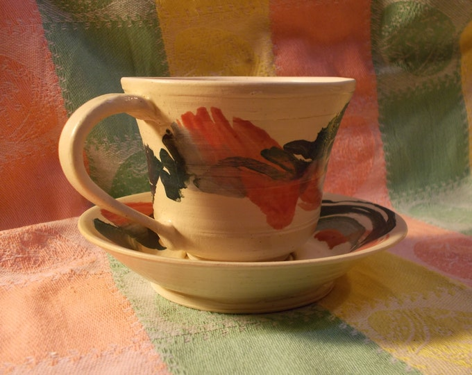 Red, Blue and Green Swirl Tea Cup and Saucer