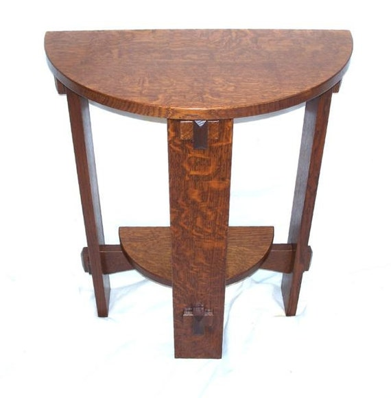 Mission Round Table.Mission Half Round Wedged Tennon Table Free Shipping