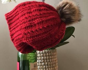 Cabernet Slouchy Hat with Faux Fox Fur Pom