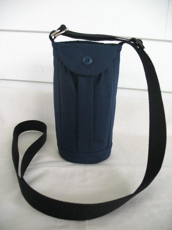 Water Bottle Bag 40 Oz Flask Holder Carrier Large Navy Adjustable Shoulder Strap