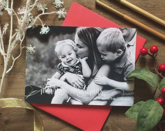 5 x 7 Custom Digital or Print Merriest Christmas Card/ Photo Christmas Greeting Card/ FREE SHIPPING