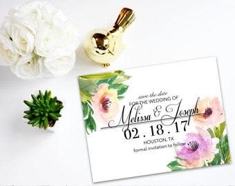 Digital Save the Date with Watercolor Flowers