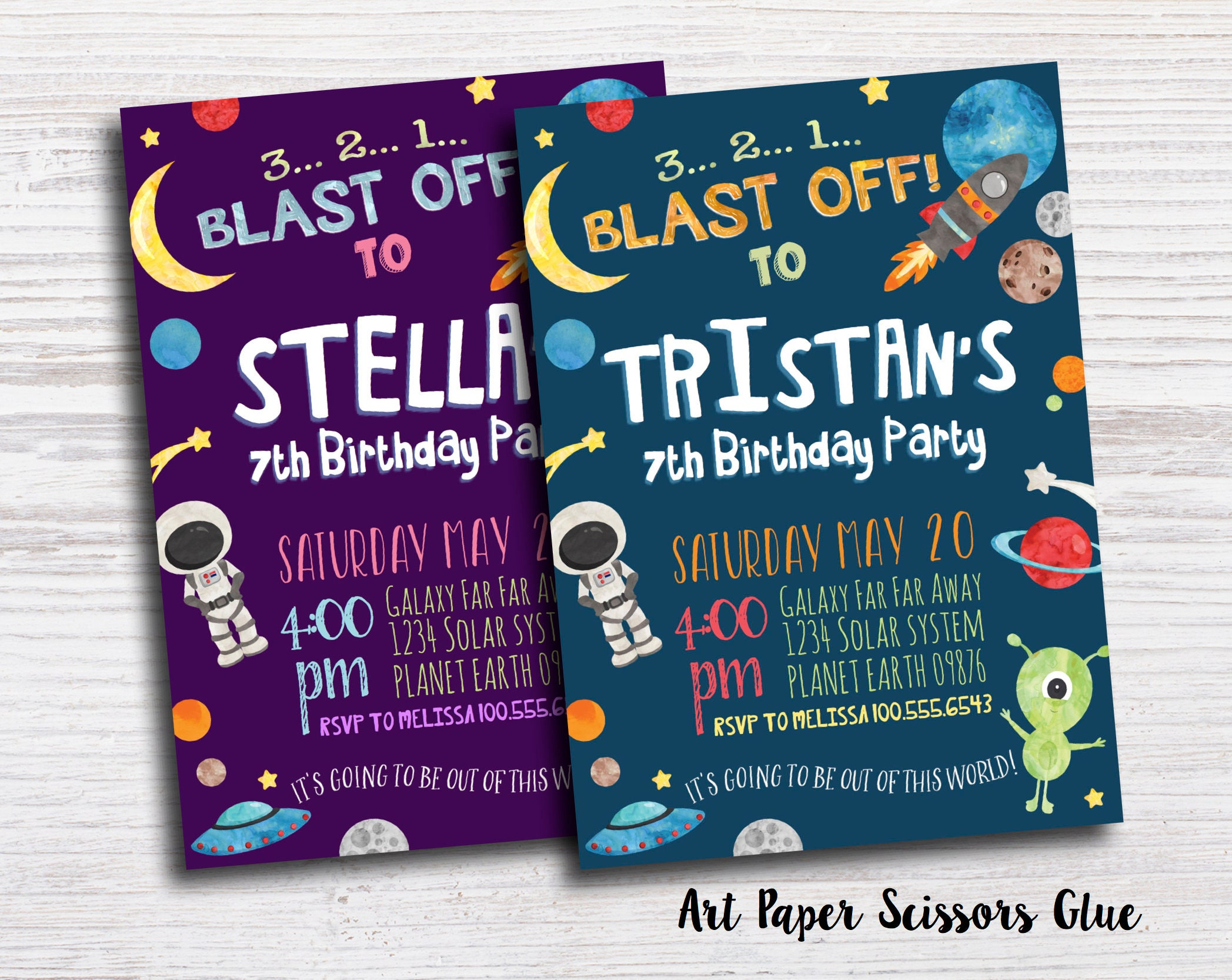 Space Birthday Invitations Outer Etsy