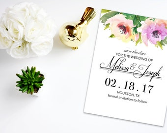 Digital Save the Date with Watercolor Flowers 2