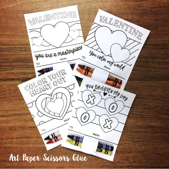 DIY Printable Valentines for Kids/ Color in Valentines/ Crayon