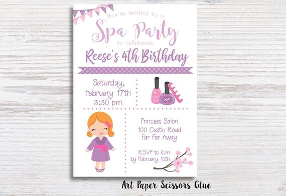 Spa party birthday invitations mani pedi party invite etsy image 0 filmwisefo