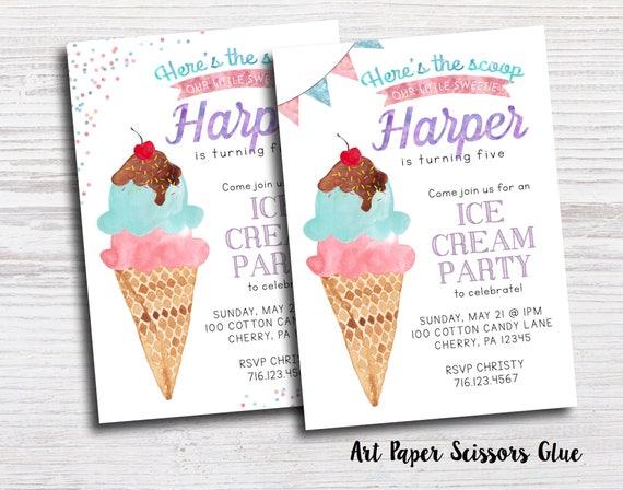 ice cream party invitations ice cream social invitations ice etsy