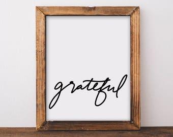 Fall Decor, Grateful, Thanksgiving Decor, Fall Wall Decor, Wall Decor, Wall art, Fall Print, Thanksgiving Print, Inspirational Print