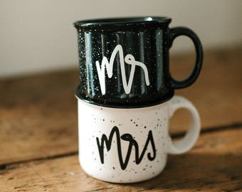Wedding Gift, Mr and Mrs, Engagement Gift, Mr and Mrs Mugs, Bride Gift, Campfire Mugs, Coffee Mugs, Bridal Gift, Cute Mugs, Mugs
