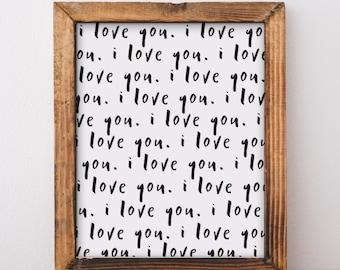 Nursery Print, Nursery Wall Art, Minimalist Nursery, Nursery Decor, Minimalist Print, Black and White Print, Typography, I Love You Wall Art