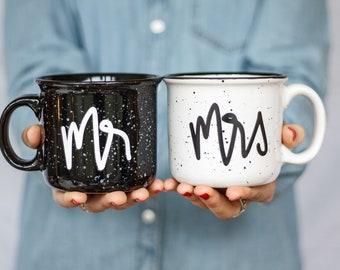 Mr and Mrs Campfire Ceramic Mugs   Wedding Gift    Engagement Gift   Wedding Gift Set   Newlyweds Mugs