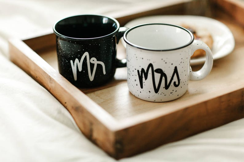 Mr and Mrs Mugs Wedding Gift Mr and Mrs Campfire Mug Camp image 0
