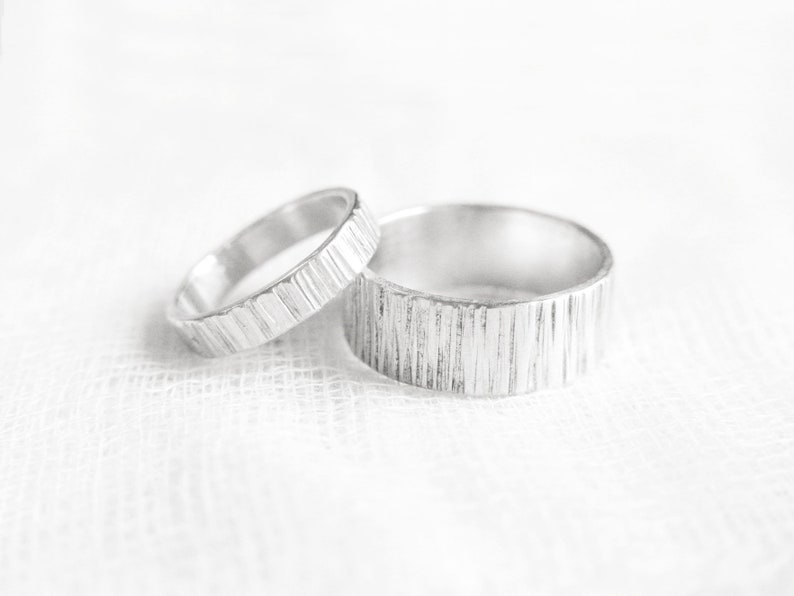 711965cf02084 Birch Rings - Wedding Band Set - Couples Jewelry - Couple Ring Set -  Promise Rings for Couples - His and Hers Ring Set - Couple Rings