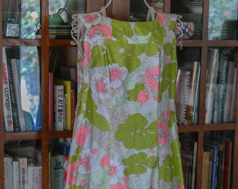 Mod 60s 70s Floral Neon Caftan ~ Pink Green Tropical Print Cotton S M
