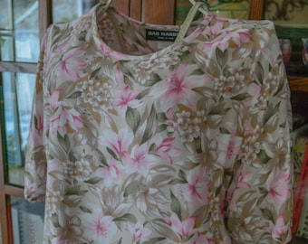 Tropical Floral Boxy Rayon Scoop Neck Short Sleeve Blouse Top 80s 90s M L Pink Tan Green