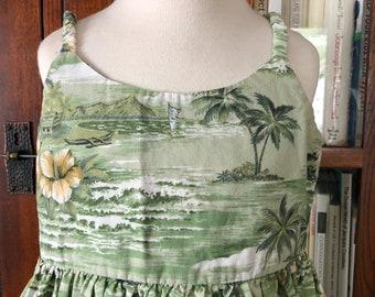 Green Aloha Little Girl's Sun Dress / size 4-6 small / cotton summer Hawaii tropical beach vacation island hibiscus flower palm tree