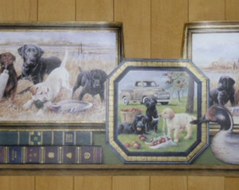 "Wallpaper Border - Sunworthy Framed Dogs, For Men Only, PT018113B, 10 1/4"" x 5 Yards, Vinyl Pre-pasted, Washable, Labrador Dogs & Old Trucks"