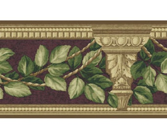 "Wallpaper Border - Sunworthy, Mulberry Prints Book, Architecture and Leaves, MP060111B, NIP, Discontinued Border, 4 3/4"" x 5 Yards"