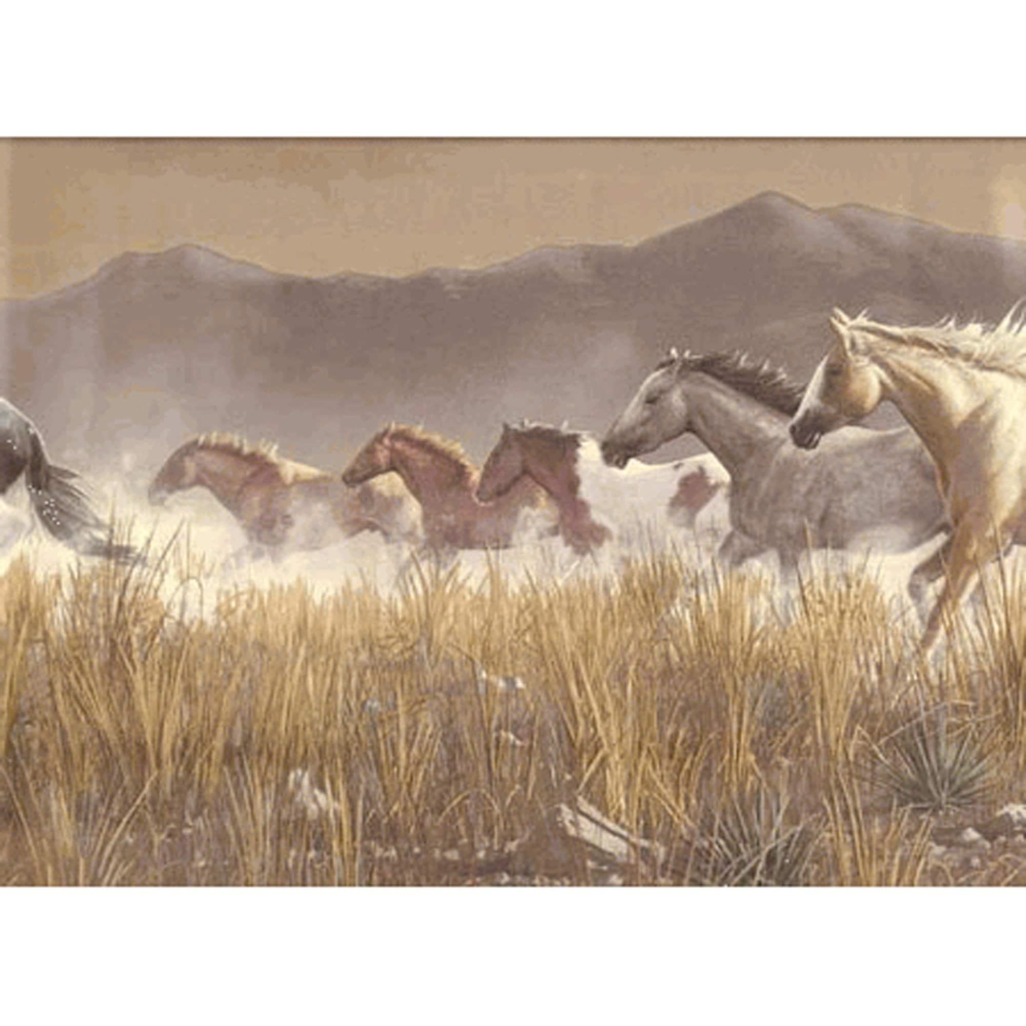 "Wallpaper Border - Seabrook Designs Wild Horses, Hautman Brothers Views of Nature, Pattern HG519B, 10 1/4"" x 5 Yds, Vinyl Pre-pasted"