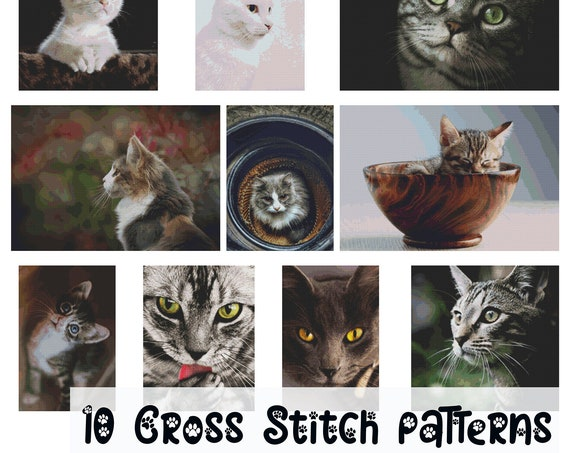 Cat Cross Stitch Patterns - ALL TEN!  PDF Instant download.  Plus Bonus Resources - Pattern Keeper Kitten Kitty Meow - Diamond Painting