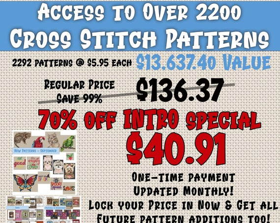 StitchX All You Can Stitch! Access to download more than 2200 cross stitch patterns!  See pics! INTRO Special Price
