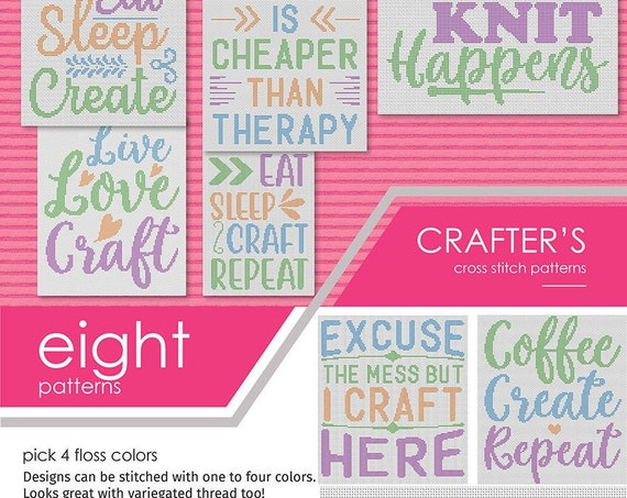 Crafter's Bundle Cross Stitch Patterns - ALL EIGHT!  PDF Instant download. Pattern Keeper - Diamond Painting
