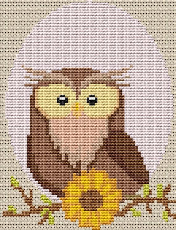 Cross Stitch Pattern - Owl Oval - Instant Download PDF