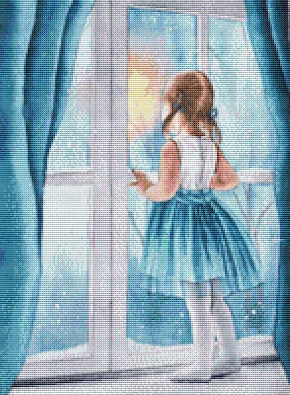Cross Stitch Pattern - Girl in a Window - Instant Download PDF