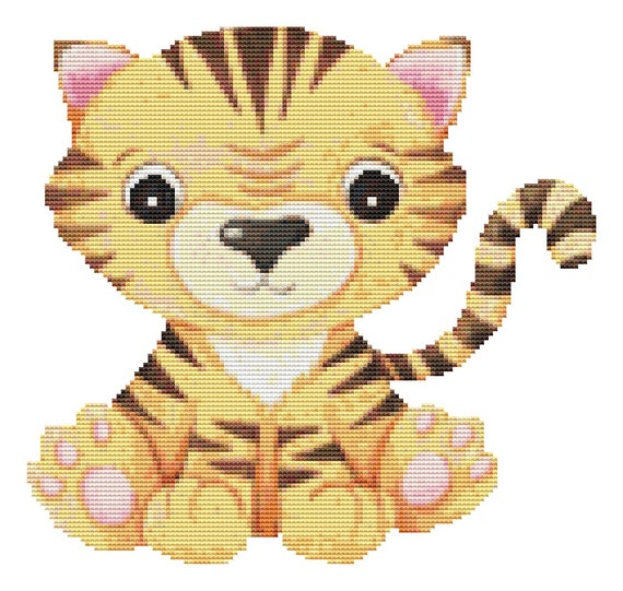 Cross Stitch Pattern Baby Tiger Instant Download PDF