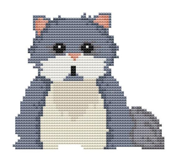 Cross Stitch Pattern - Chubby Kitty - Instant Download PDF